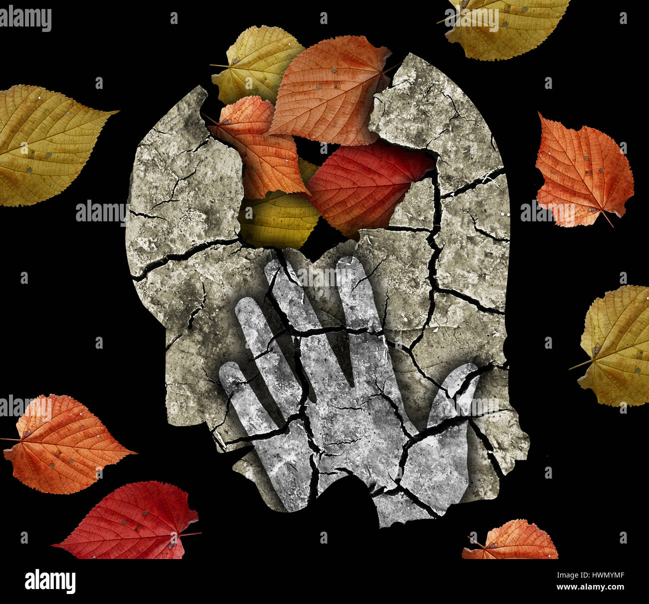 Stylized male head silhouette holding his head.Photo-montage with Dry cracked earth and autumn leaves symbolizing - Stock Image