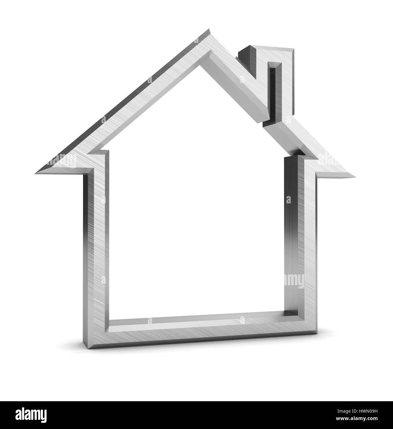 3d illustration of house symbol over white background - Stock Image