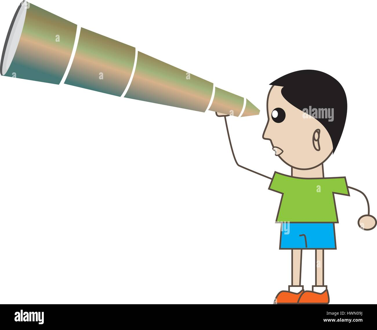 Boy looking at Future - Stock Vector