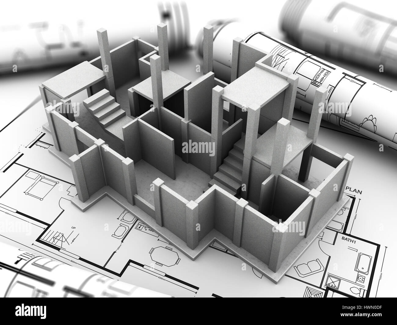 3d Illustration Of Concrete House Model And Blueprints Stock