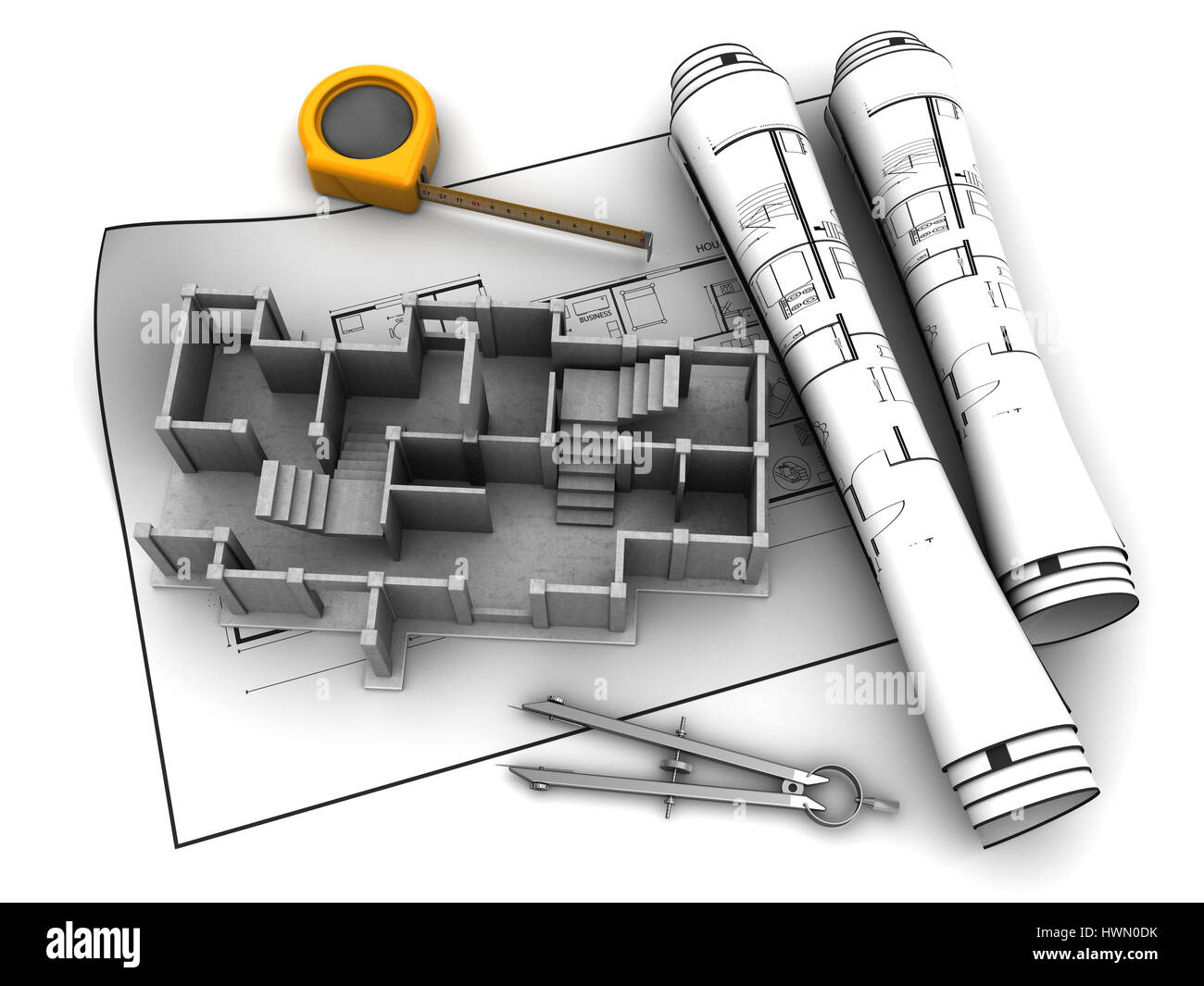 City architecture 3d model stock photos city architecture 3d model abstract 3d illustration of construction over blueprints stock image malvernweather Images