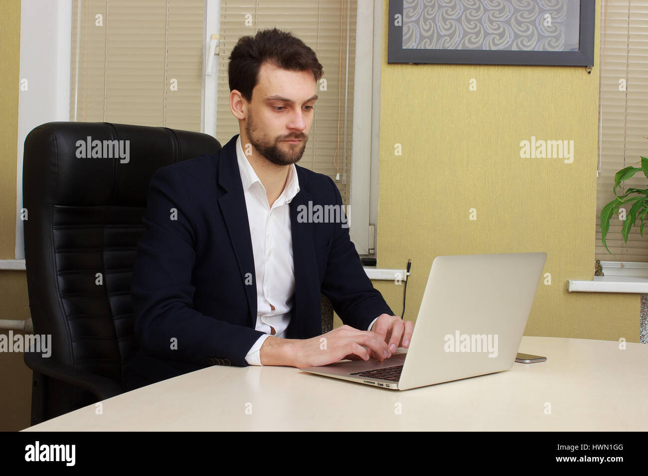 Young Businessman Sitting Behind His Desk With Laptop In