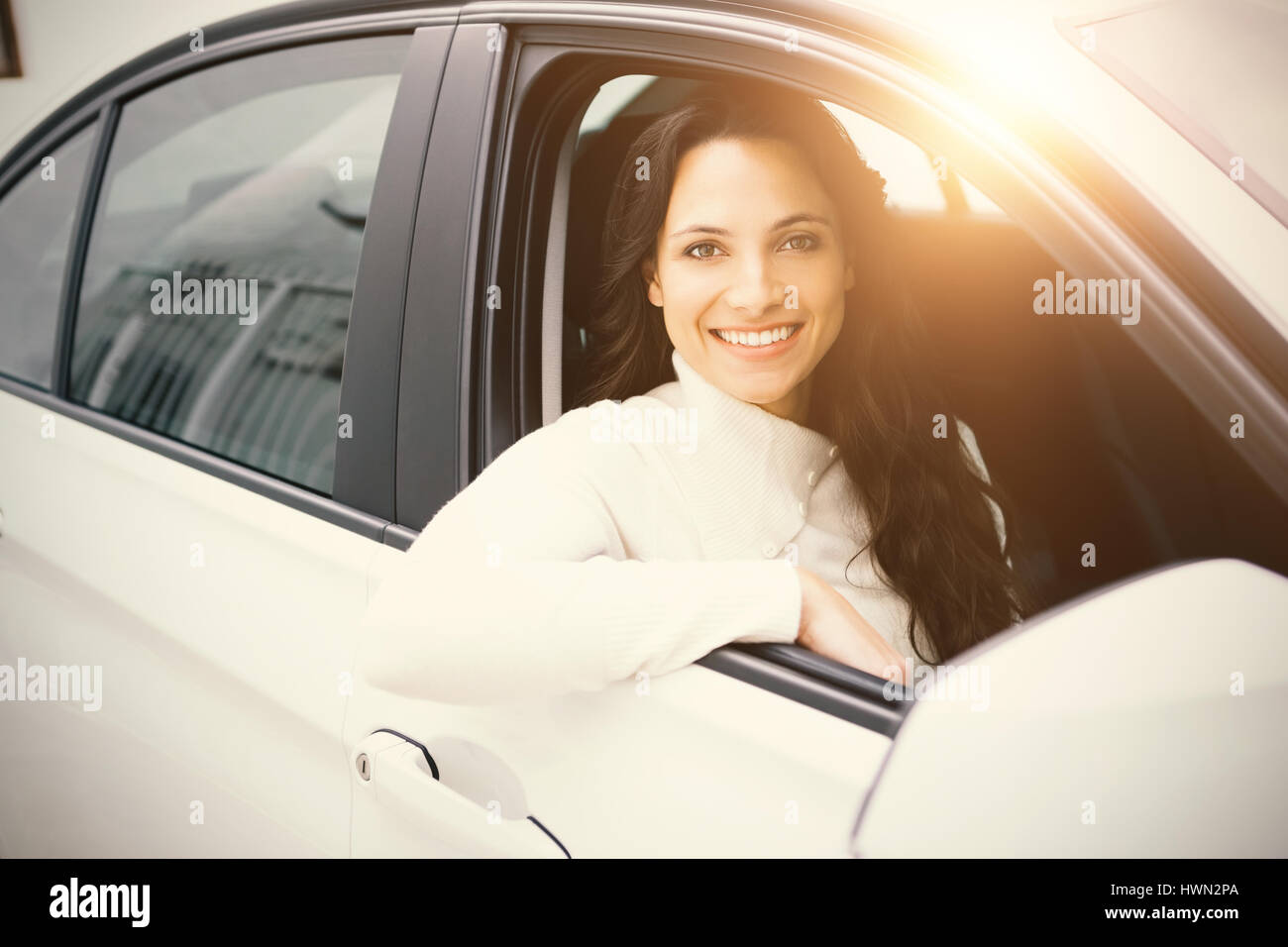 Woman in a car - Stock Image