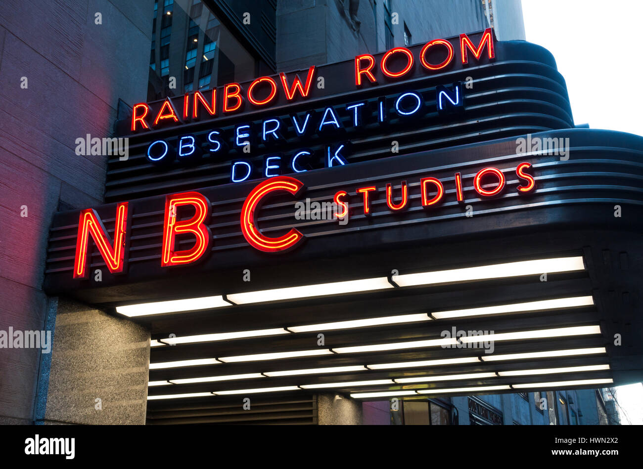 NBC building marquee - Stock Image