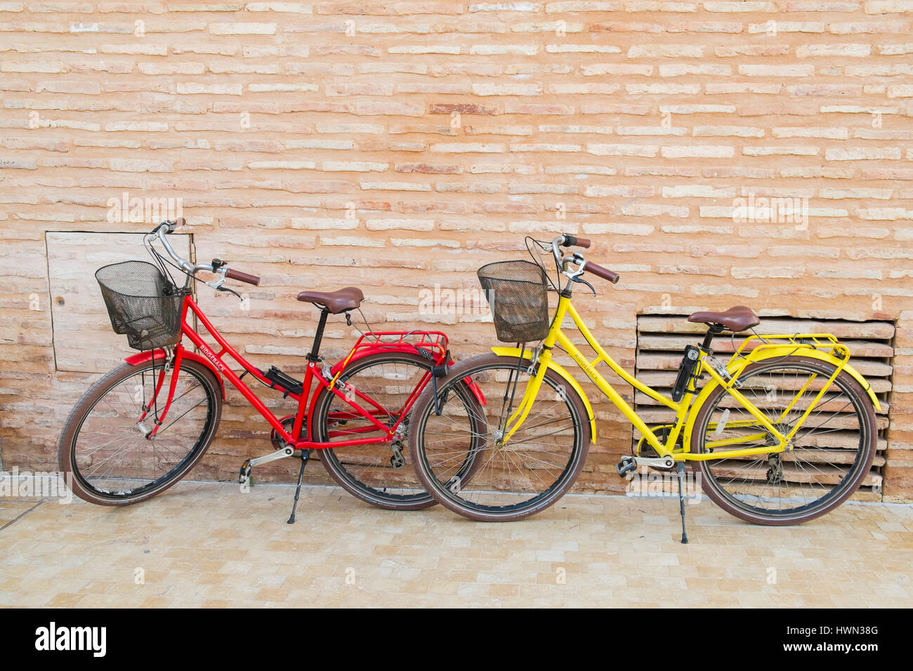 Bicycles parked in Málaga, Andalusia, Spain - Stock Image