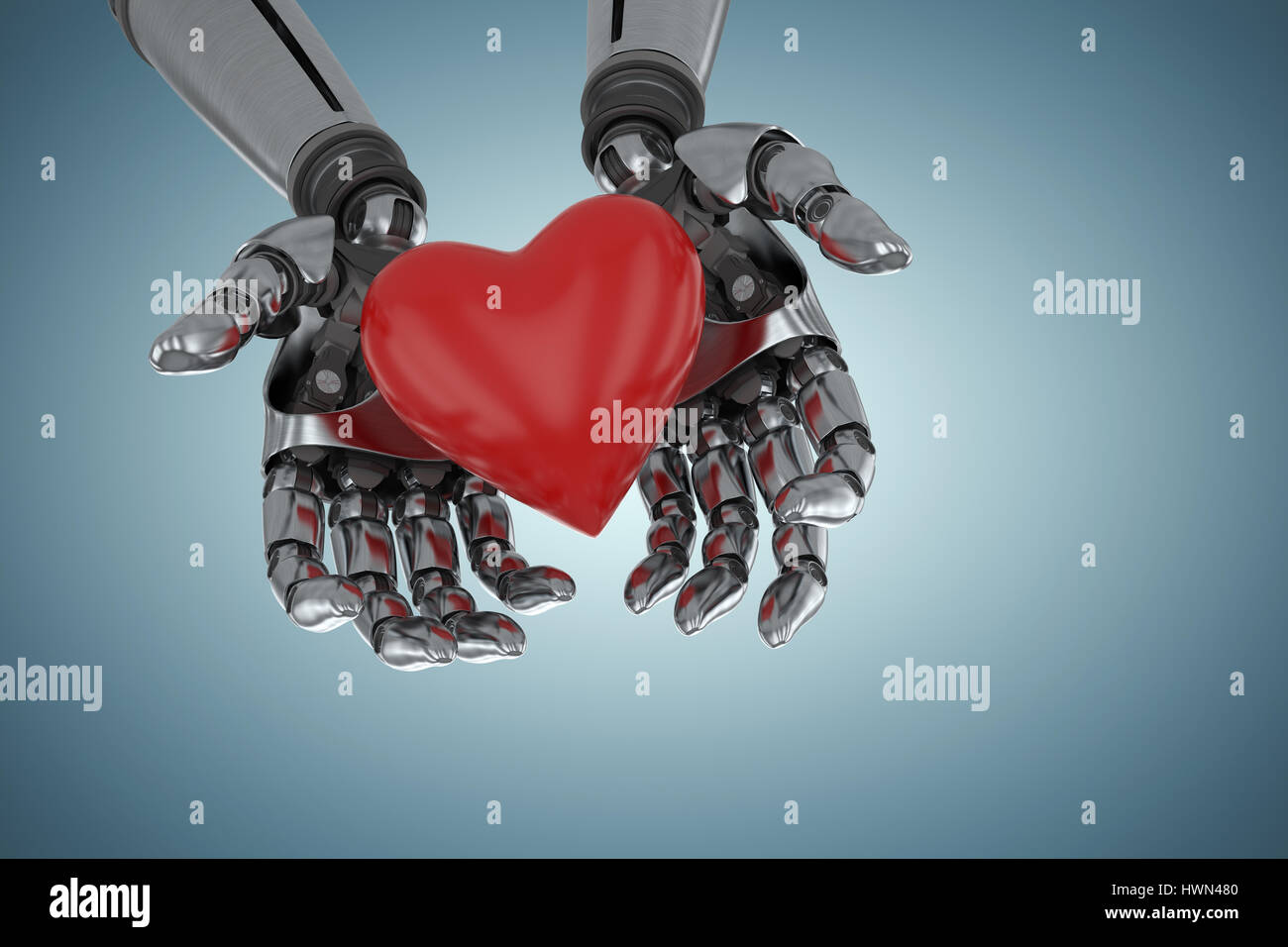 Three dimensional image of robot holding red heard shape against grey vignette 3d Stock Photo