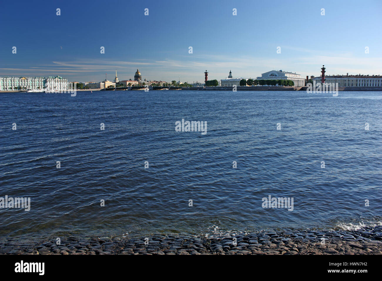 Saint-Petersburg. Panoramic views of the Palace quay (Winter Palace - Hermitage, Admiralty, St. Isaac's Cathedral, - Stock Image