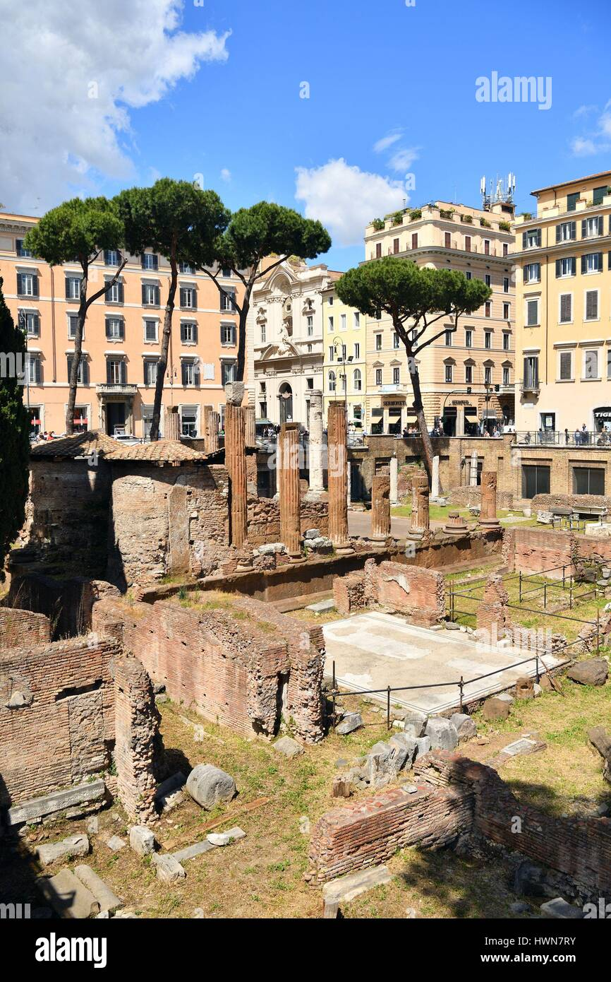 Italy, Lazio, Rome, historical centre listed as World Heritage by UNESCO, Ruins of Roman temples at Area Sacra, - Stock Image