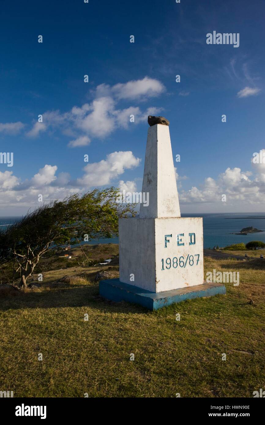 Mauritius, Rodrigues Island, Pompee, cartographic marker - Stock Image