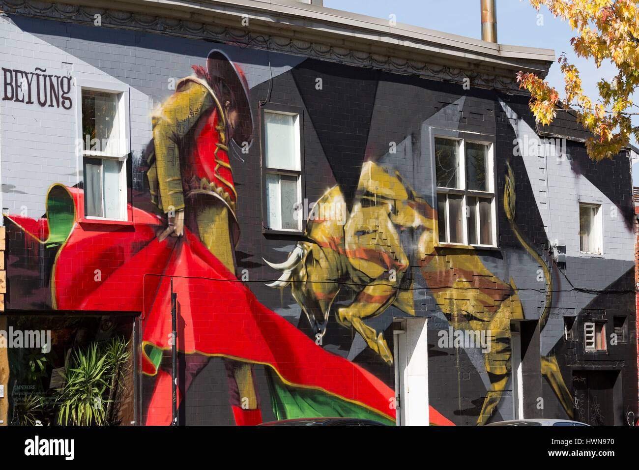 Canada, Province of Quebec, Montreal Bryan Beyung festival Mural 2014 facing the park of Portugal on the Plateau - Stock Image