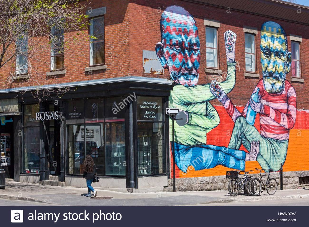 Canada, Province of Quebec, Montreal Mural by Other (AKA Troy Lovegates) on Napoleon Street for Mural Festival 2013 - Stock Image