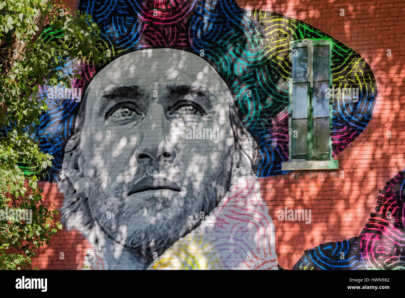 Canada, Province of Quebec, Montreal Hsix and Zek (Canada) festival Mural 2016 Portrait of famous actor Roy Dupuis - Stock Image