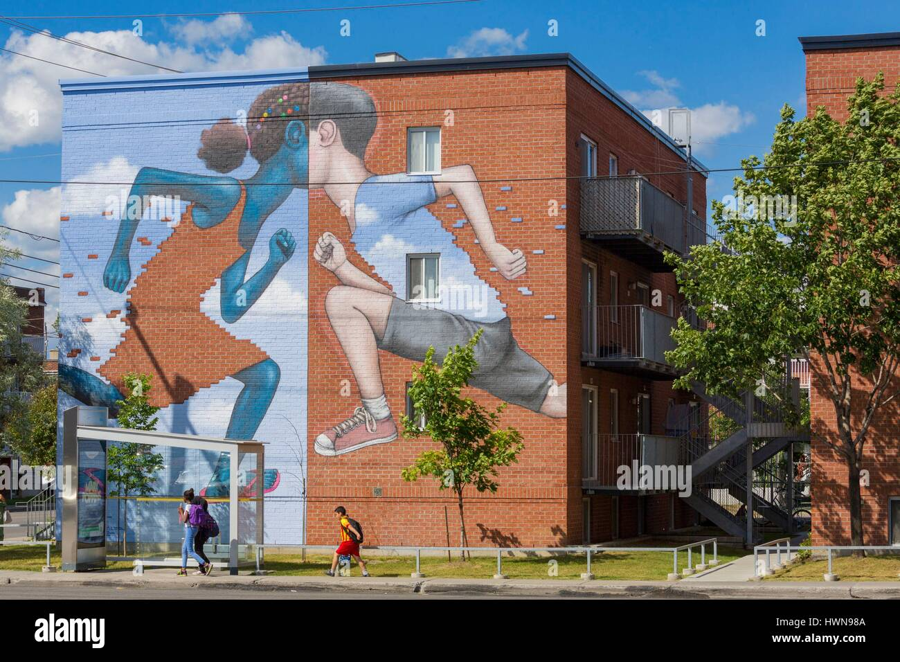 Canada, Province of Quebec, Montreal, Comme un jeu d'enfant by Seth for MU in 2015 SETH (Julien Malland), - Stock Image