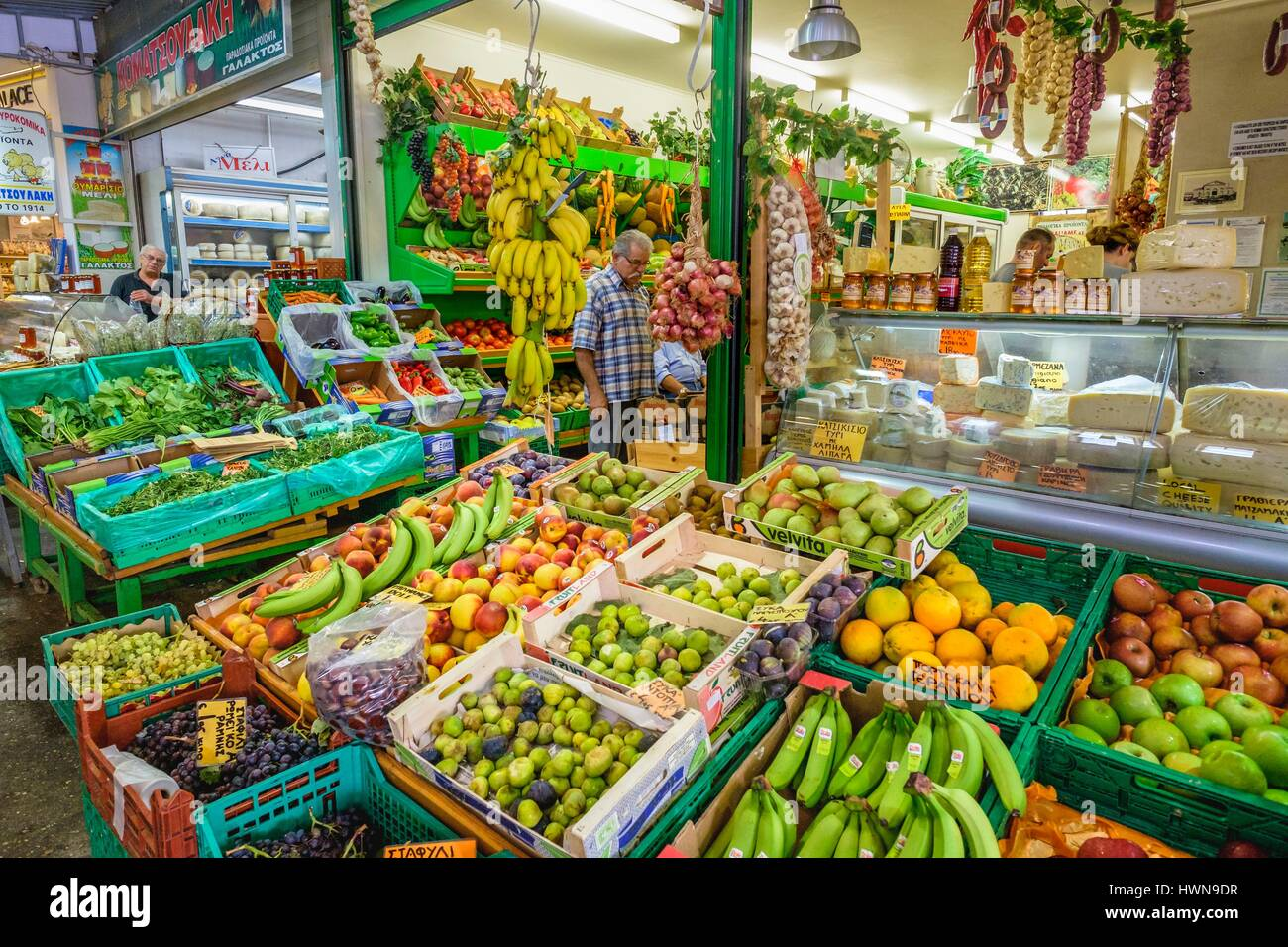 Greece, Crete, Chania, the great covered market inaugurated in 1913 - Stock Image