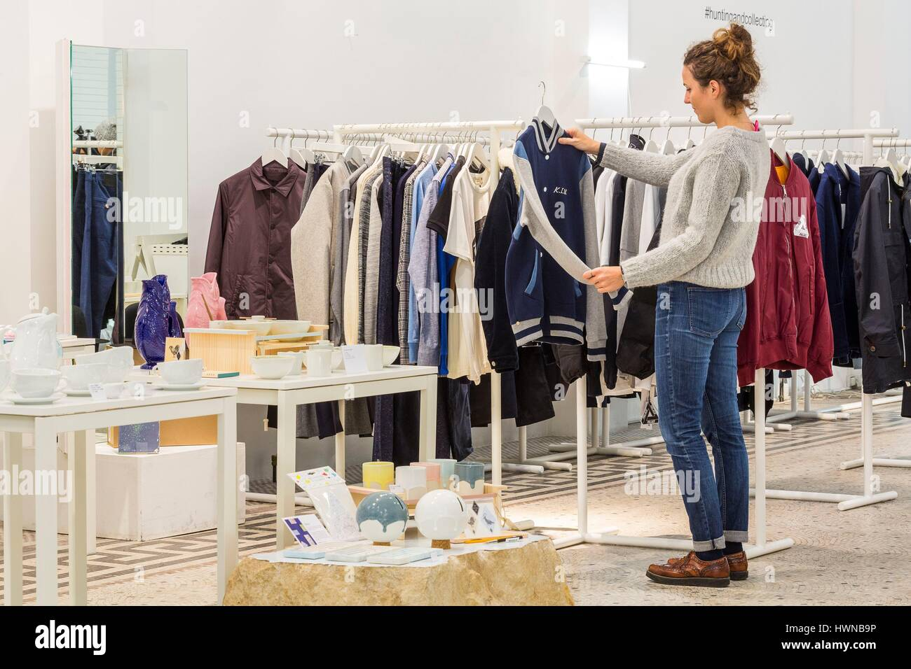 Belgium, Brussels, Dansaert district, Rue des Chartreux, concept store Hunting and Collecting, fashion department - Stock Image