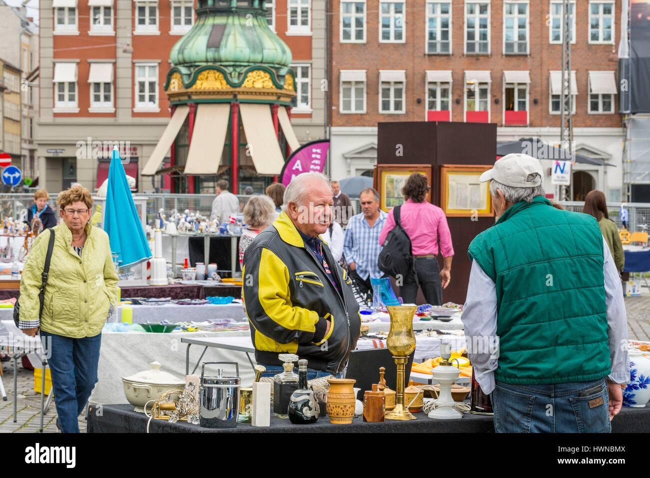 Denmark, Zealand, Copenhagen, Kongens Nytorv, flea market - Stock Image