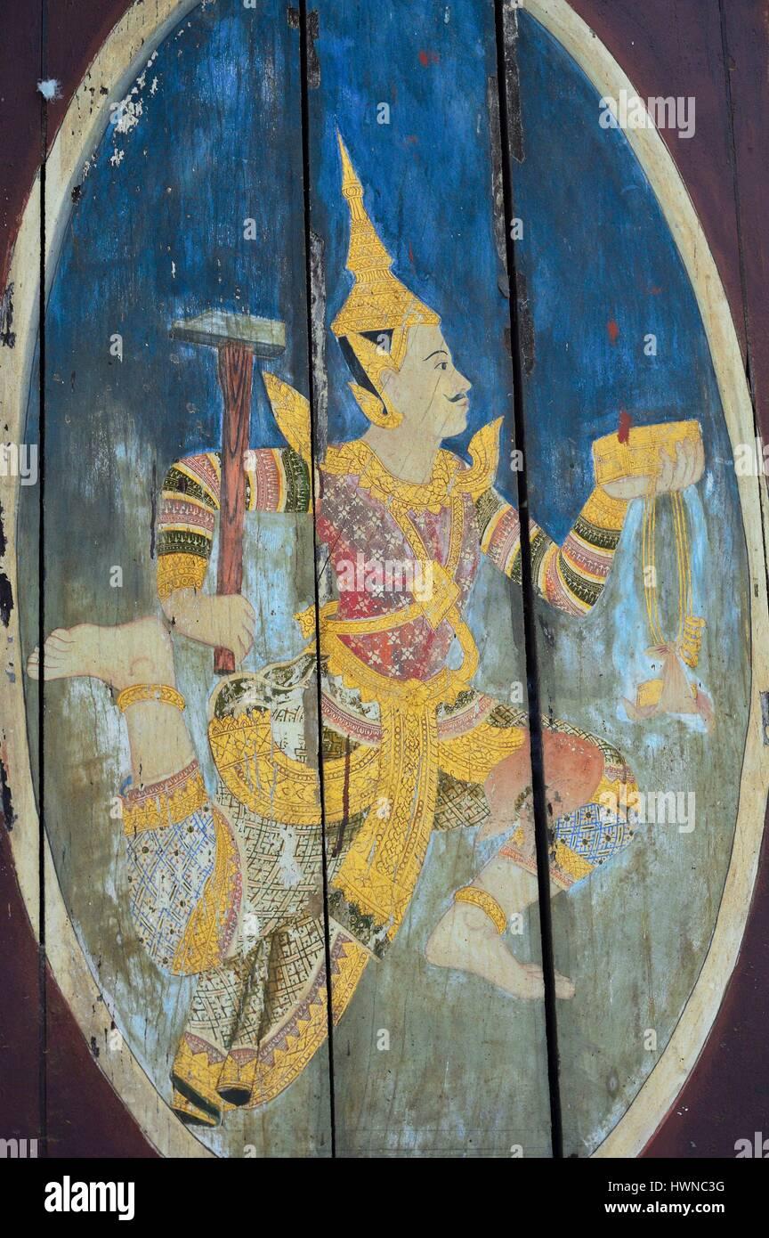 Cambodia, Phnom Penh, National Museum of Fine Arts, wood painting - Stock Image