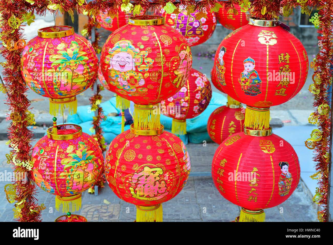 Cambodia, Phnom Penh, decorative lamps for Chinese New Year - Stock Image