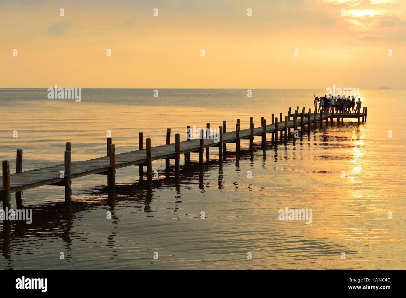 Cambodia, Krong Kep Province, Kep village, Sailing Club warf at sunset - Stock Image