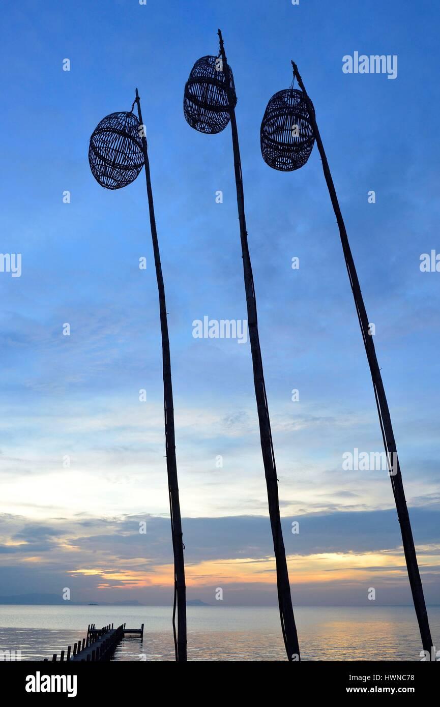 Cambodia, Krong Kep Province, Kep village, Sailing Club warf at sunset, lamps - Stock Image