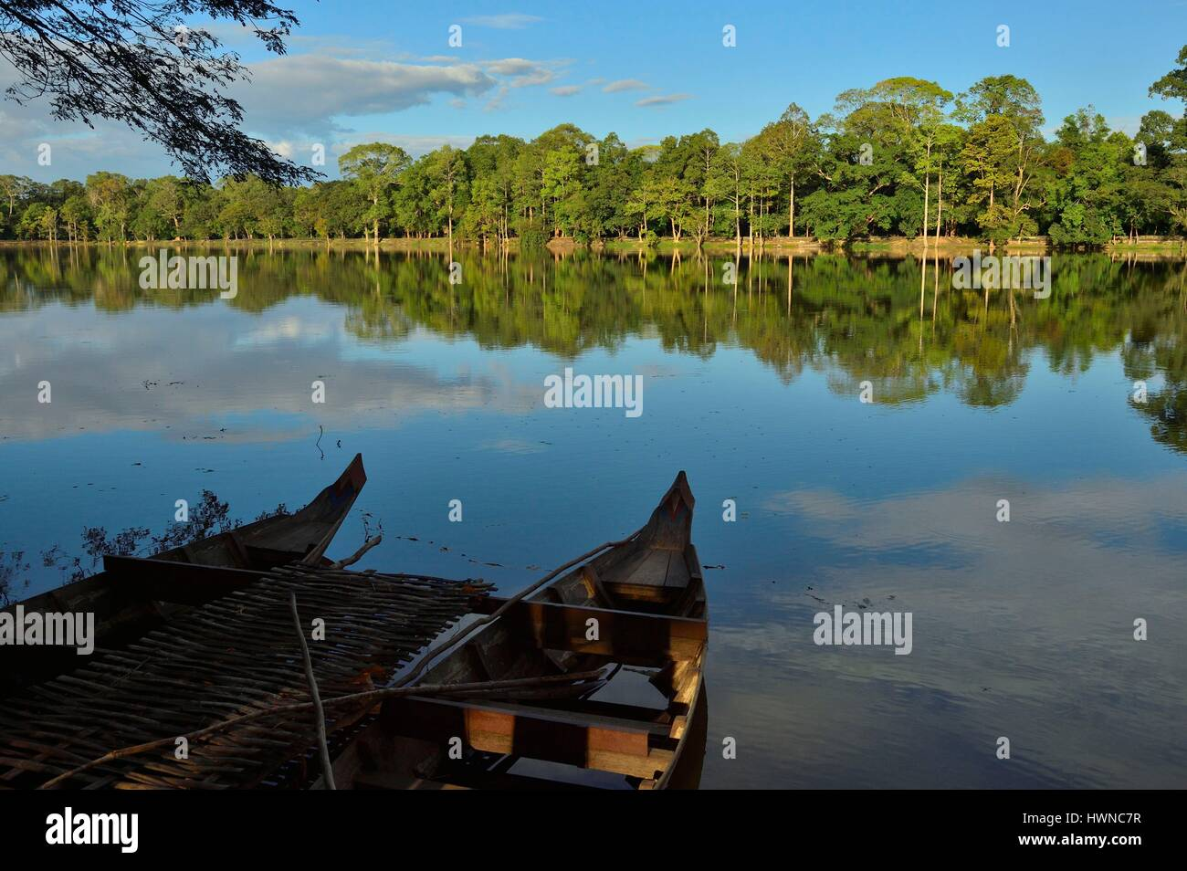 Cambodia, Siem Reap Province, Angkor temple complex, site listed as World Heritage by UNESCO, Angkor Wat - Stock Image