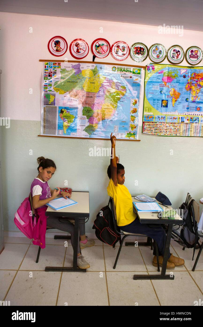Brazil, Minas Gerais, Muzambinho (North of Sao Paulo), at the Neide Sartine Muniz School situated on the fazenda - Stock Image