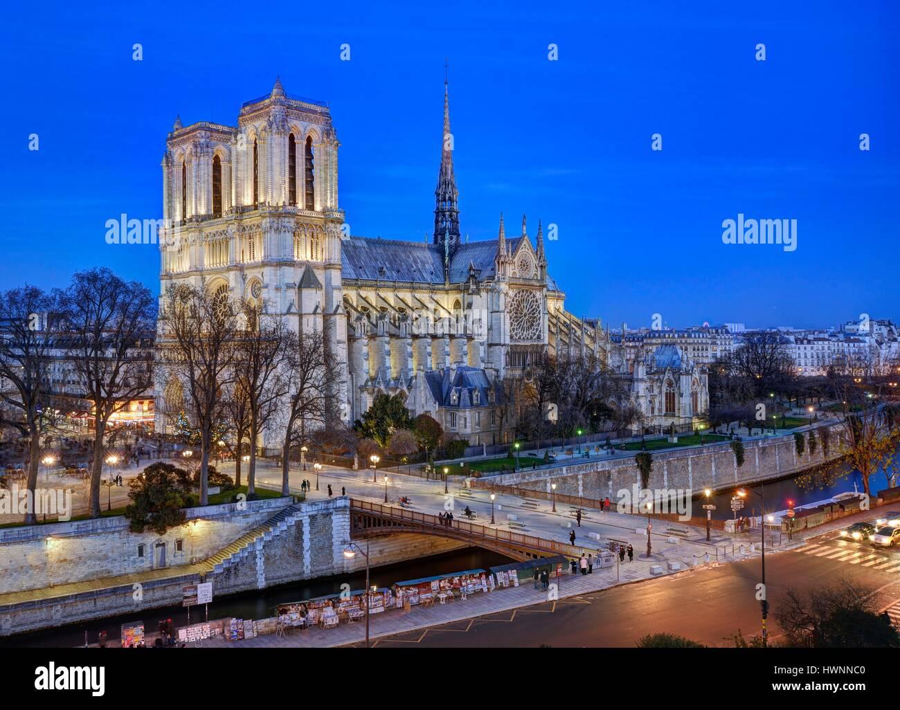 France, Paris, the banks of the Seine river listed as World Heritage by UNESCO, île de la Cité (City island) - Stock Image