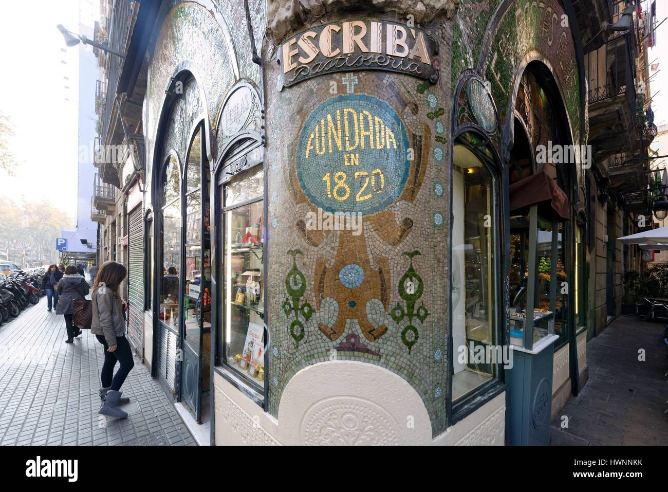 Spain, Catalonia, Barcelona, La Rambla, Escriba cake shop and chocolate maker, The Antiga Casa Figueras, Art Nouveau - Stock Image
