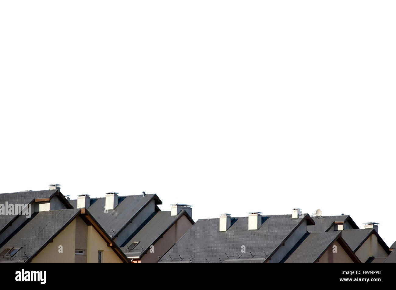 Rowhouse row house apartments roofs, isolated condos rooftops panorama - Stock Image