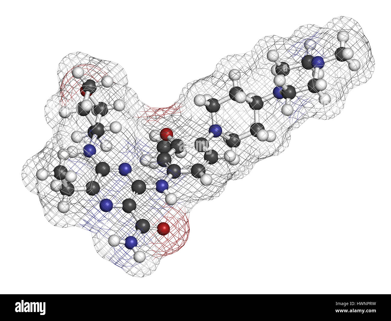 Gilteritinib cancer drug molecule (kinase inhibitor). 3D rendering. Atoms are represented as spheres with conventional - Stock Image