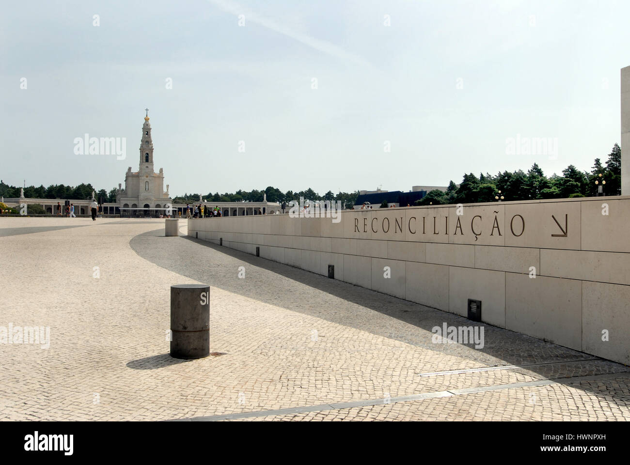 In Fatima Portigal a sign directs faithful to confession - Stock Image
