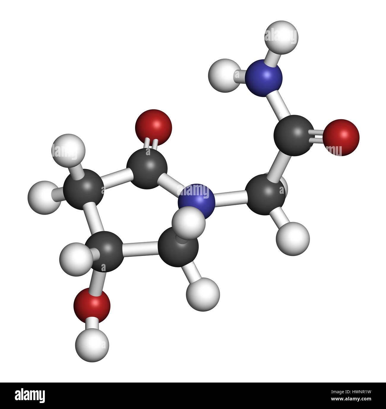Oxiracetam nootropic drug molecule  3D rendering  Atoms are Stock