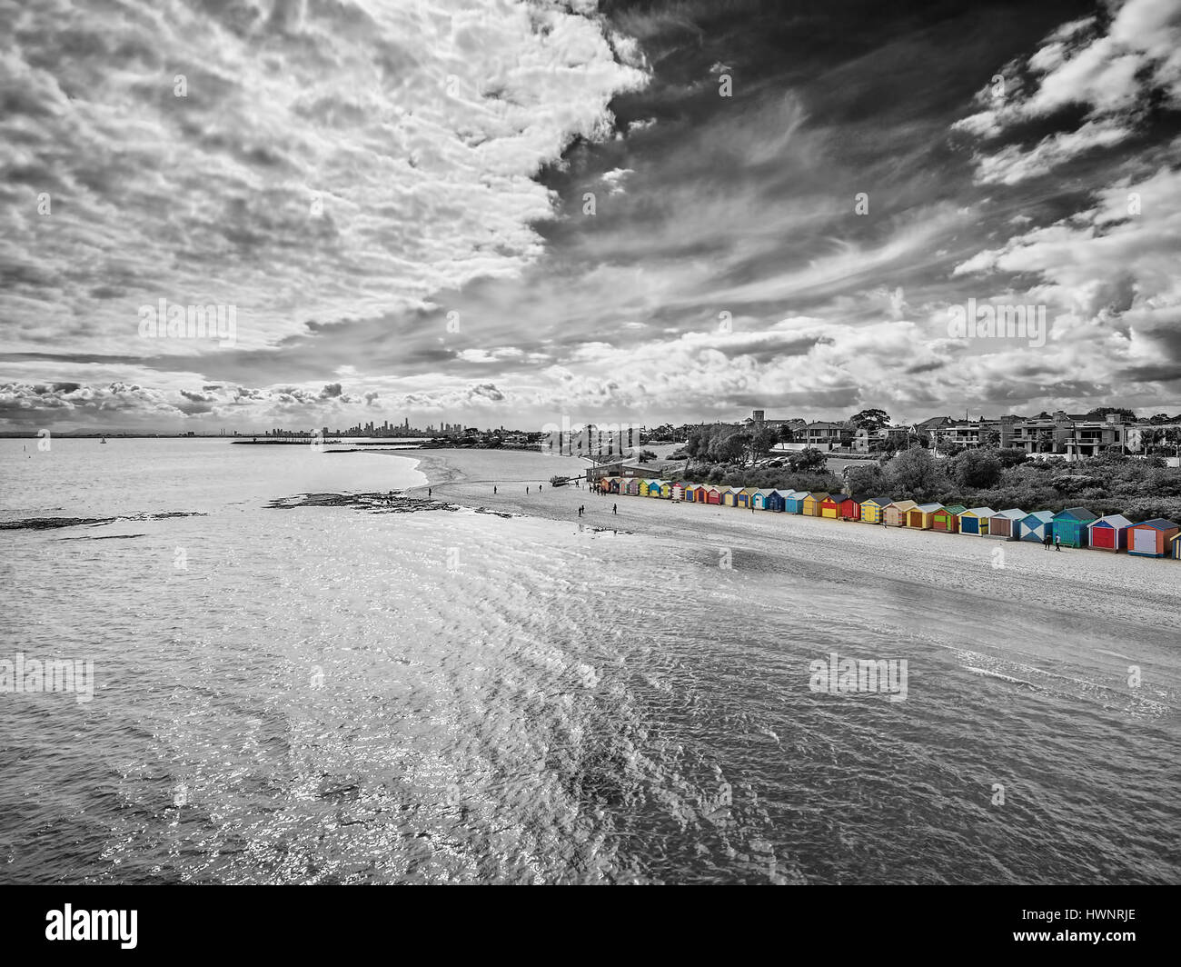 Black and white aerial view of Brighton Beach bathing huts on a bright sunny day. Melbourne, Victoria, Australia - Stock Image
