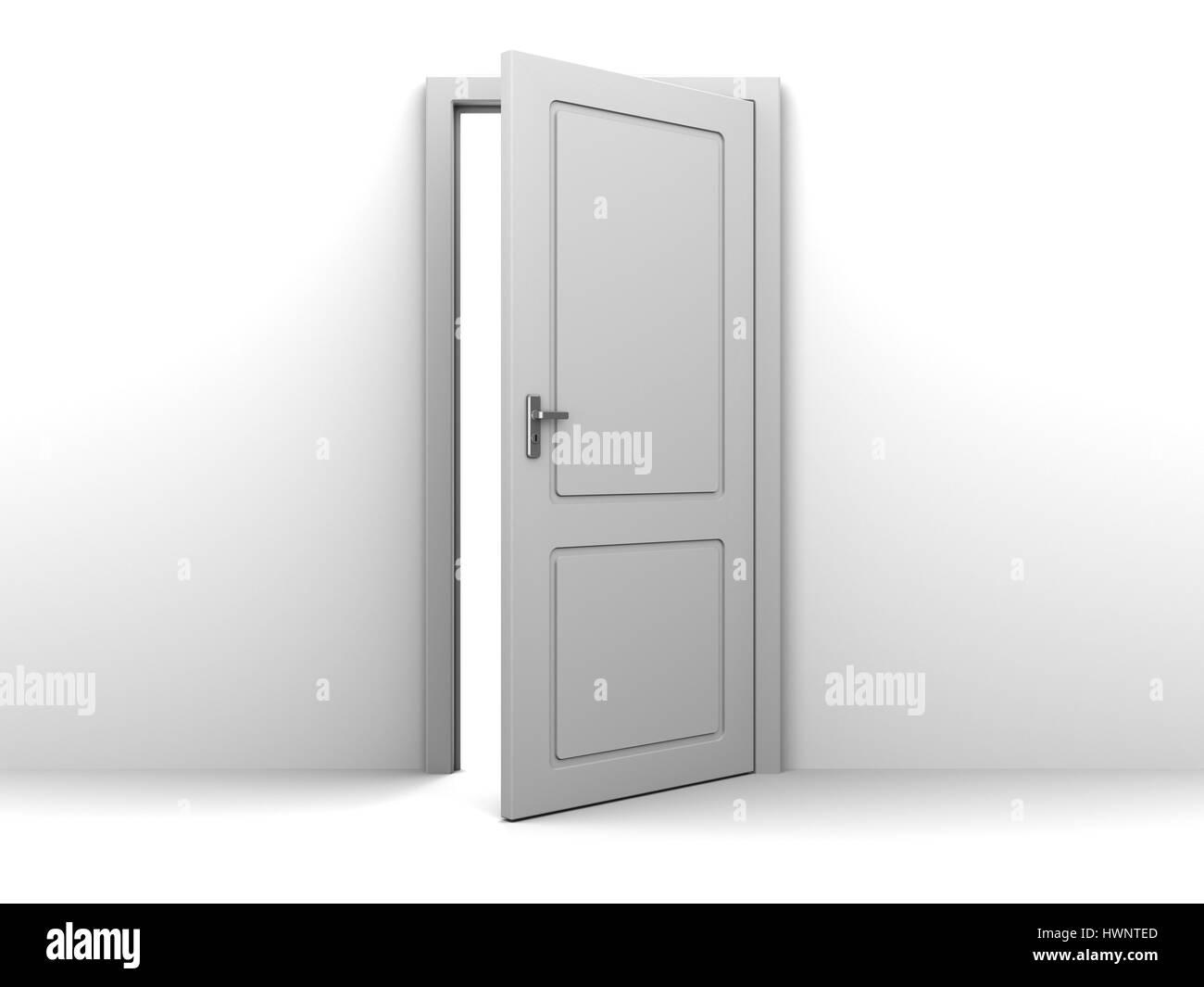 Superbe 3d Illustration Of Half Open Door