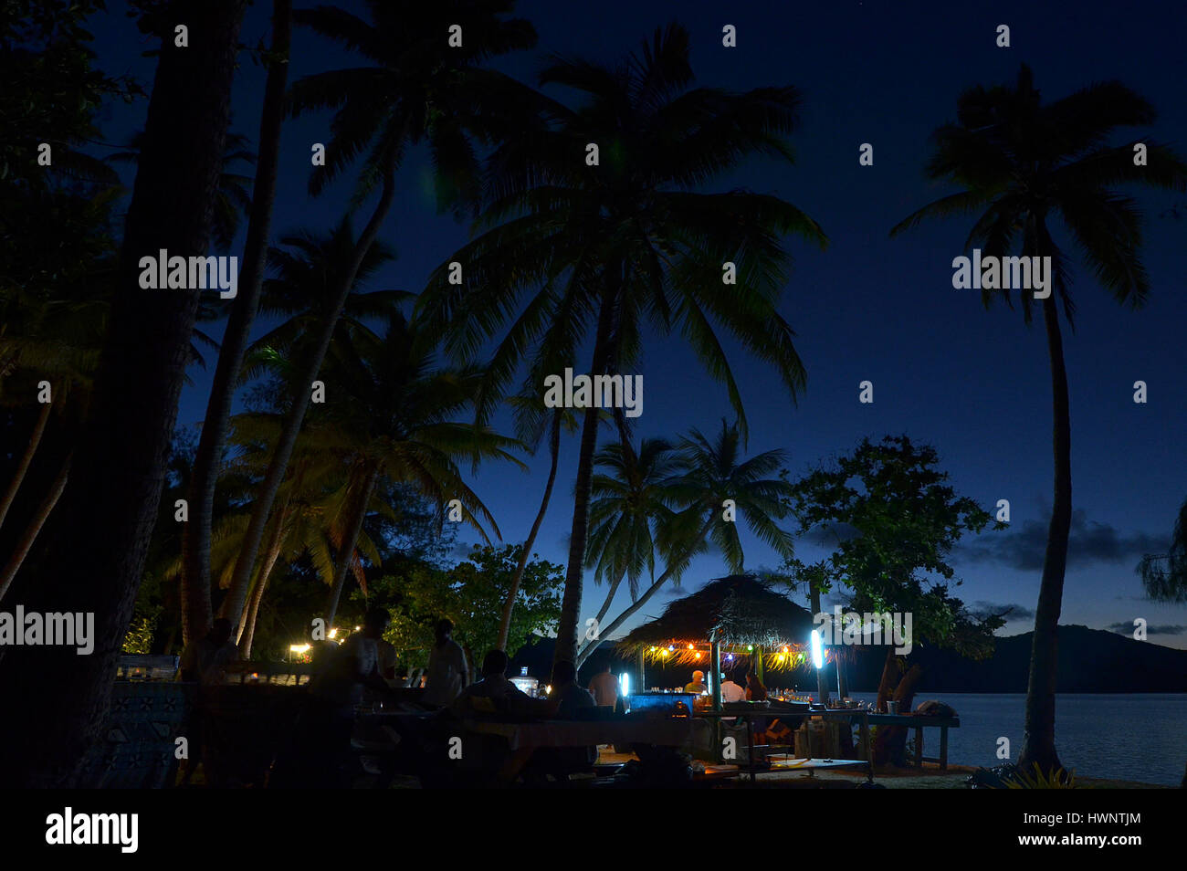 Night Event On A Tropical Island Beach At Night In One On