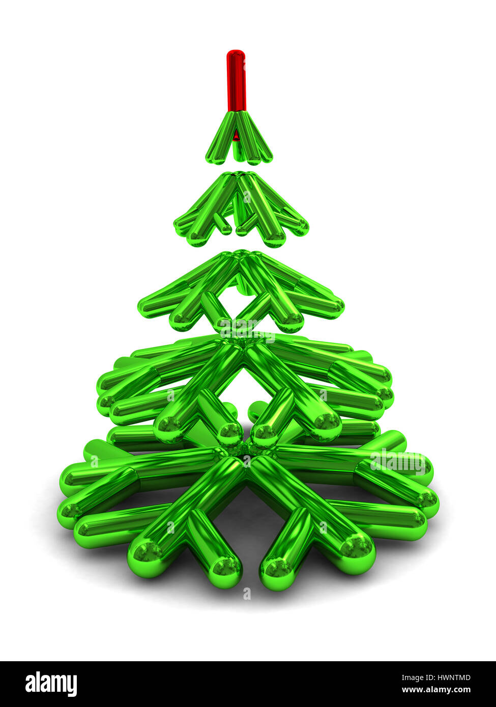 3d Illustration Of Green Christmas Tree Symbol Over White