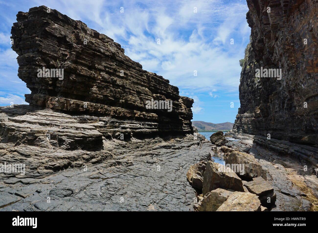 Rocky coastal landscape in New Caledonia, Bourail, Grande Terre island, south Pacific - Stock Image