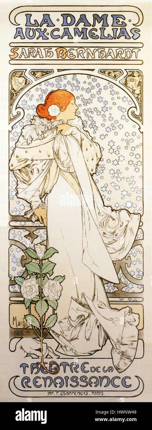 La Dame Aux Camelias, Sarah Bernhardt, 1896 Art Nouveau poster by Alphonse Mucha for the actress' best known play - Stock Image