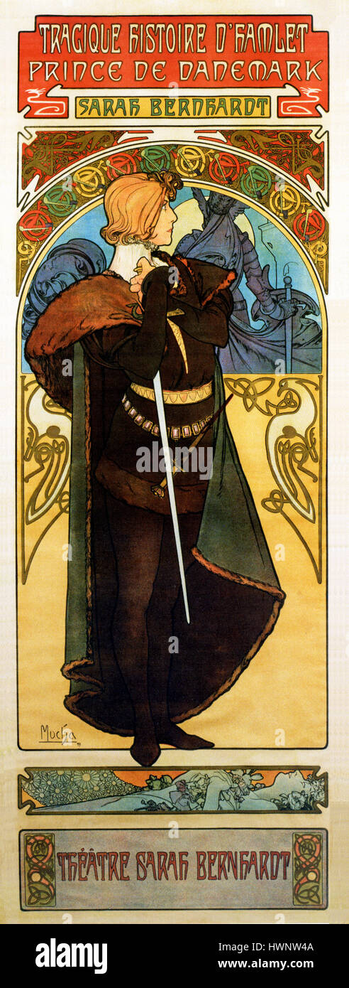 Hamlet, Sarah Bernhardt, 1899 Art Nouveau poster by Alphonse Mucha for the actress' French version of the play by - Stock Image