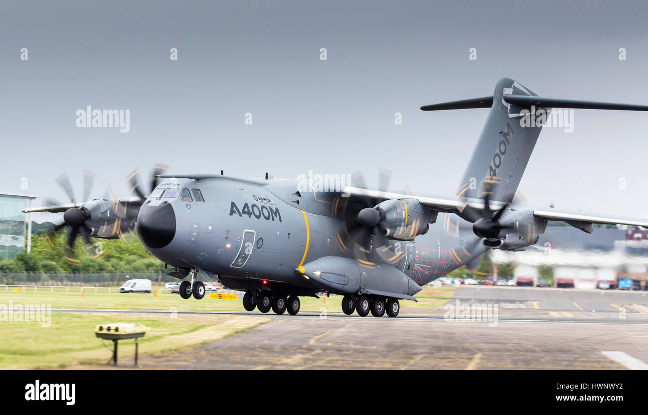 Airbus A400 displays at Farnborough International Airshow 2016 - Stock Image