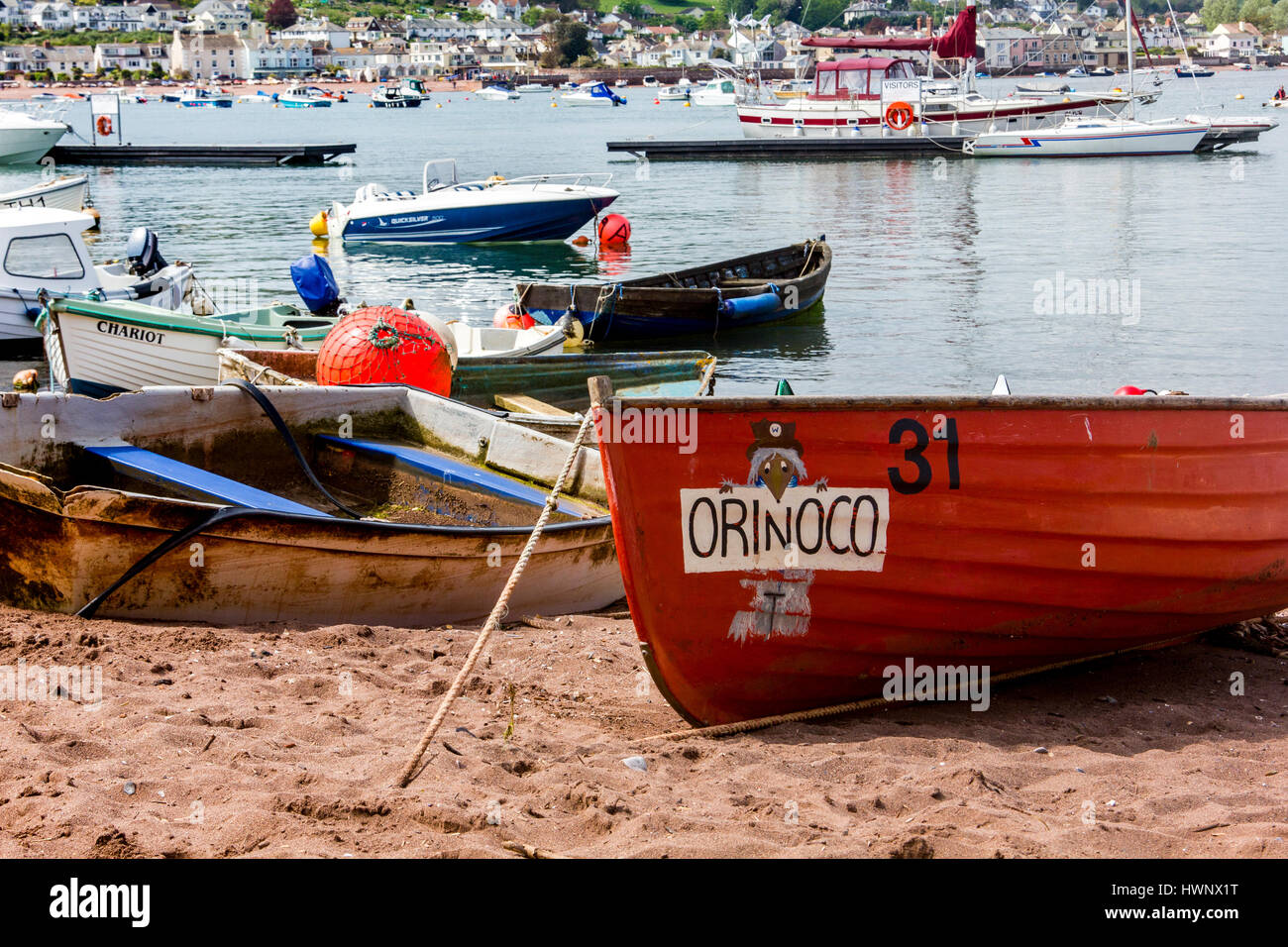 'Orinoco' and Boats on The Estuary Beach at Teignmouth With Boats Moored in the Teign Estuary, Teignmouth, Devon, Stock Photo