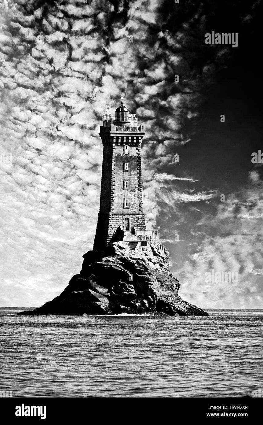 La Vielle lighthouse Raz de Sein Ushant Brittany France - Stock Image