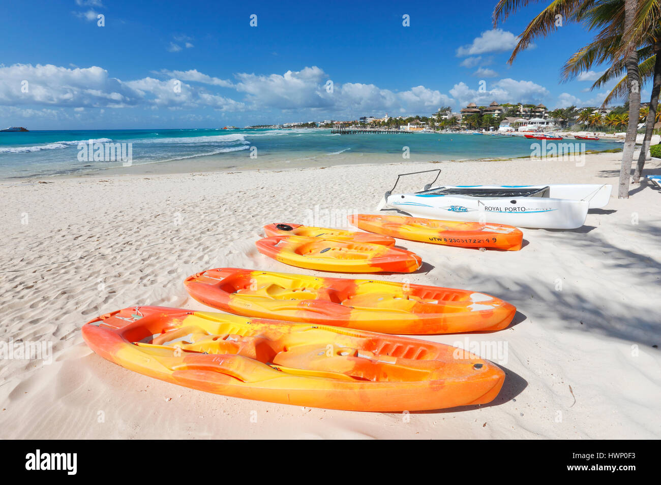 Kayaks on Playa del Carmen sand beach in Mexico Stock Photo