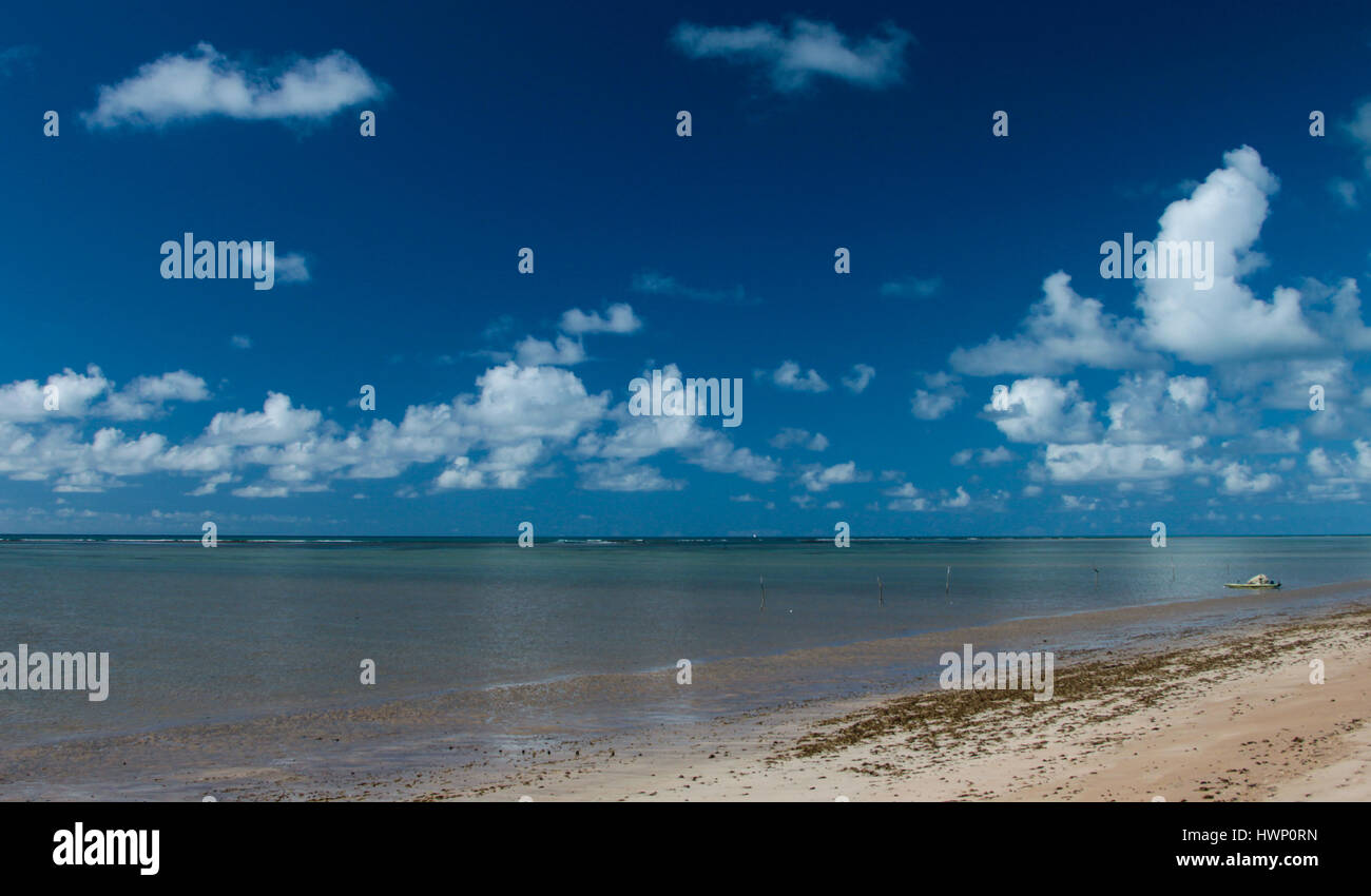 Beach Vacations: Patacho Beach, Alagoas, Brazil, considered one of the most beautiful beaches in Brazil- sand, sea and sky. Stock Photo