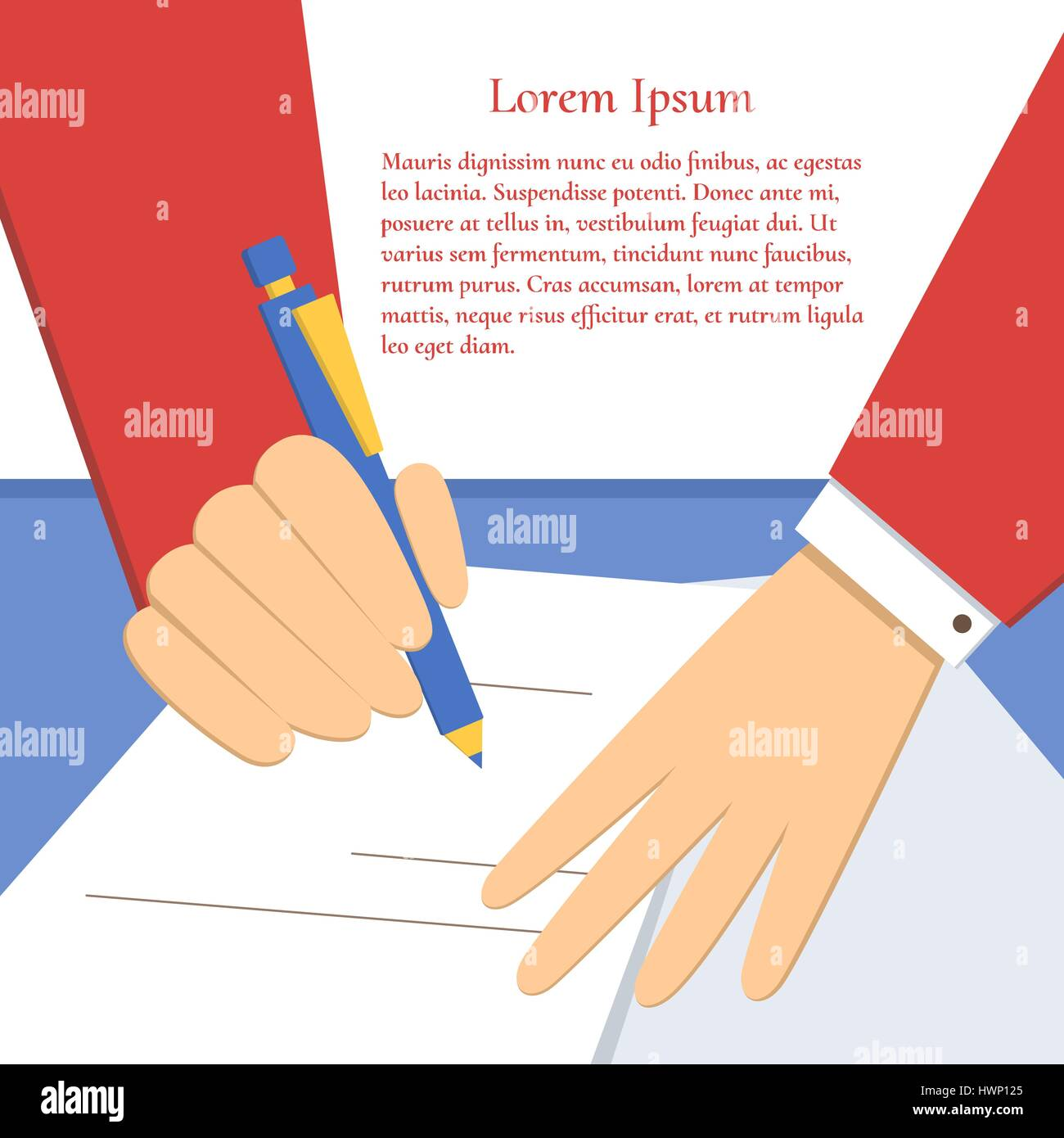Signing of an agreement - Stock Vector