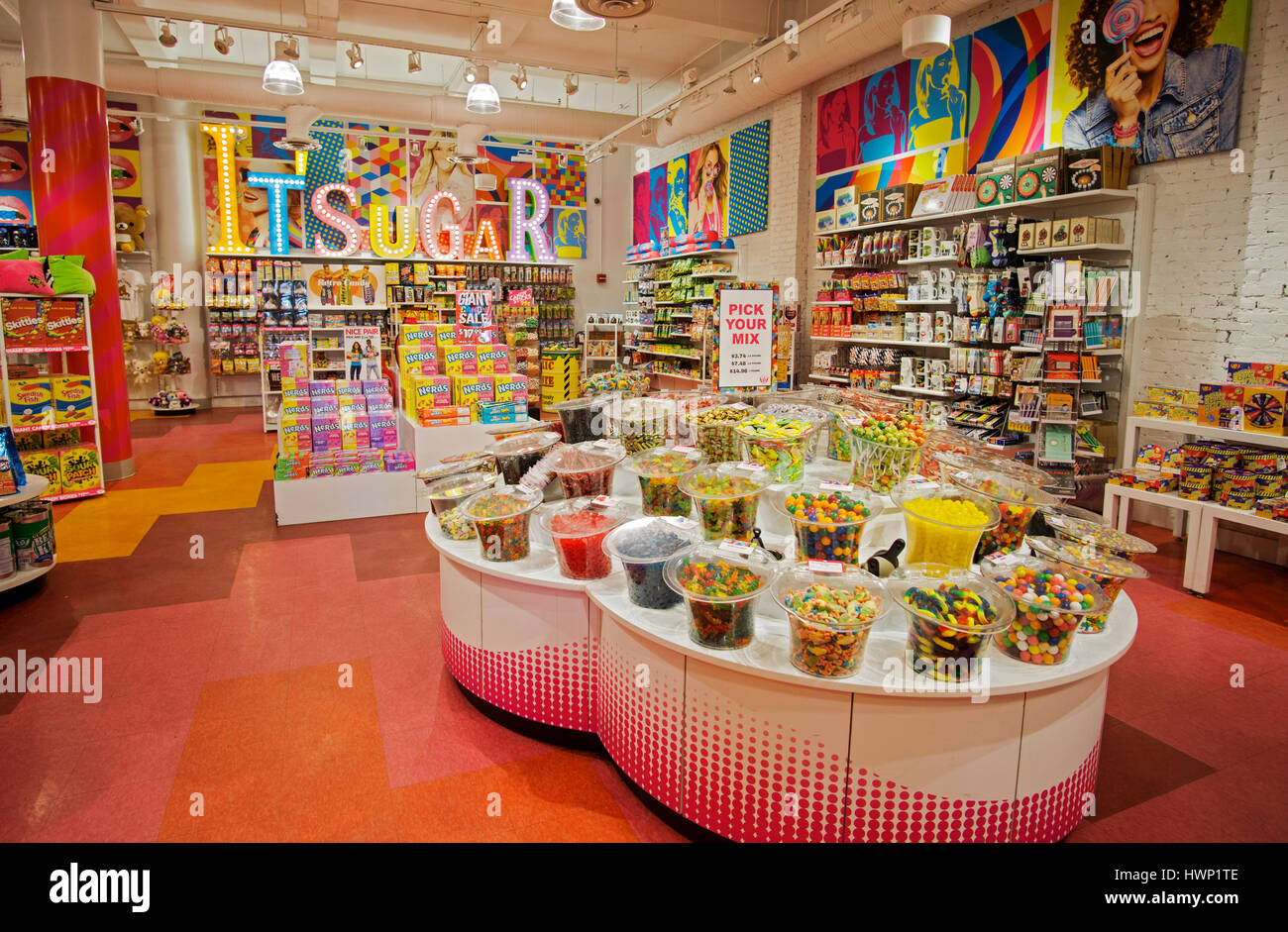 A general view of the interior of It'sugar, a candy and novelty shop on Broadway in Greenwich Village, New York - Stock Image