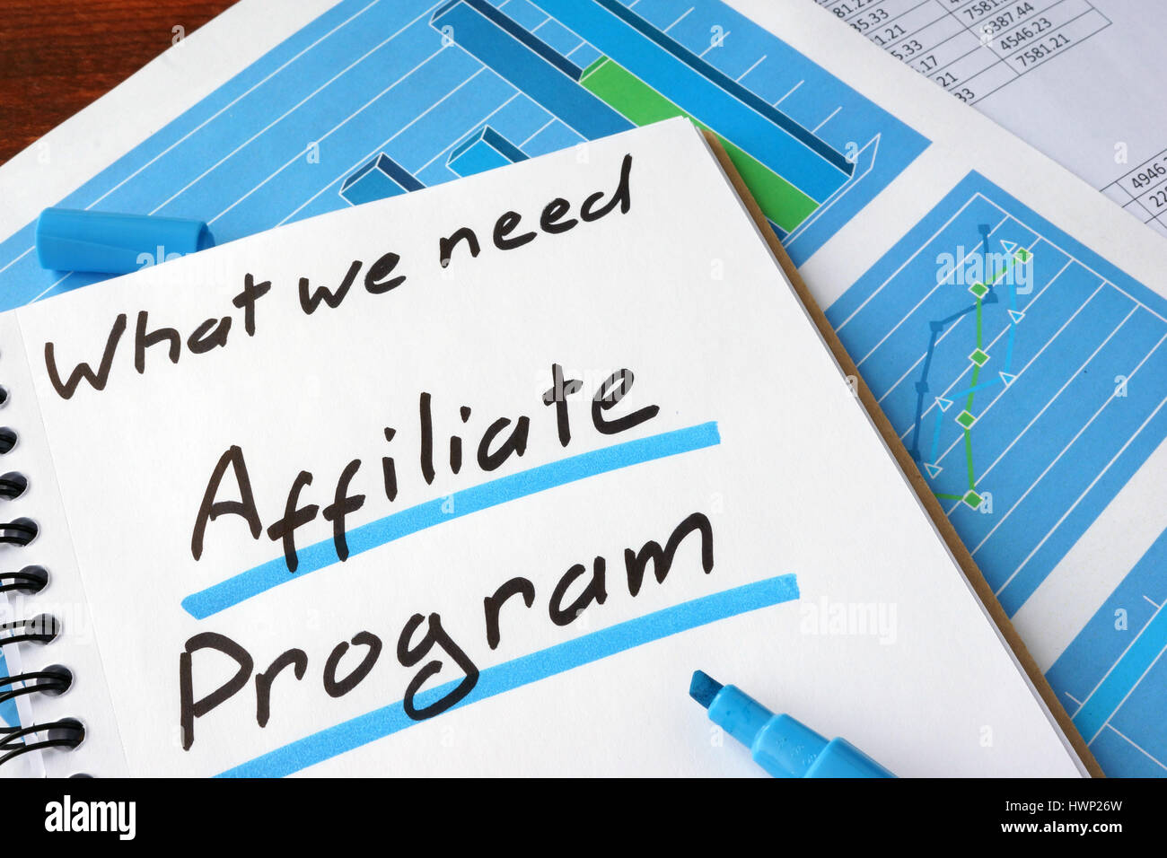 Affiliate Program written in a notebook and marker. - Stock Image
