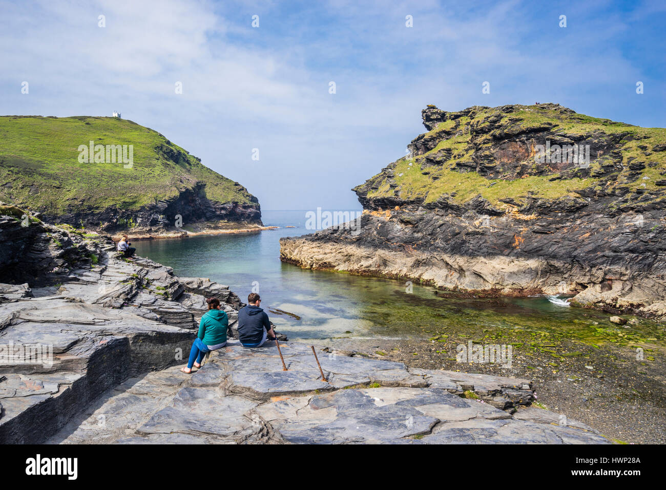 United Kingdom, South West England, Conwall, view of the entrance to Boscastle Harbour flanked by Willapark promontory - Stock Image