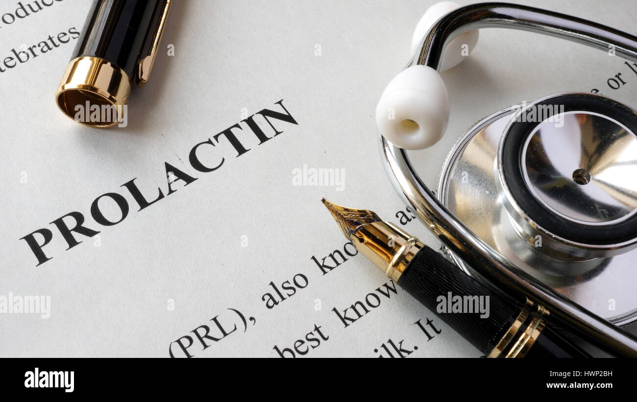 Document with title Prolactin on a table. Hormones concept. - Stock Image