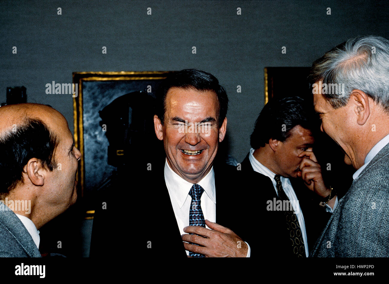 Republican Presidential candidate Pat Buchanan answers reporters questions during a news conference Washington DC., - Stock Image